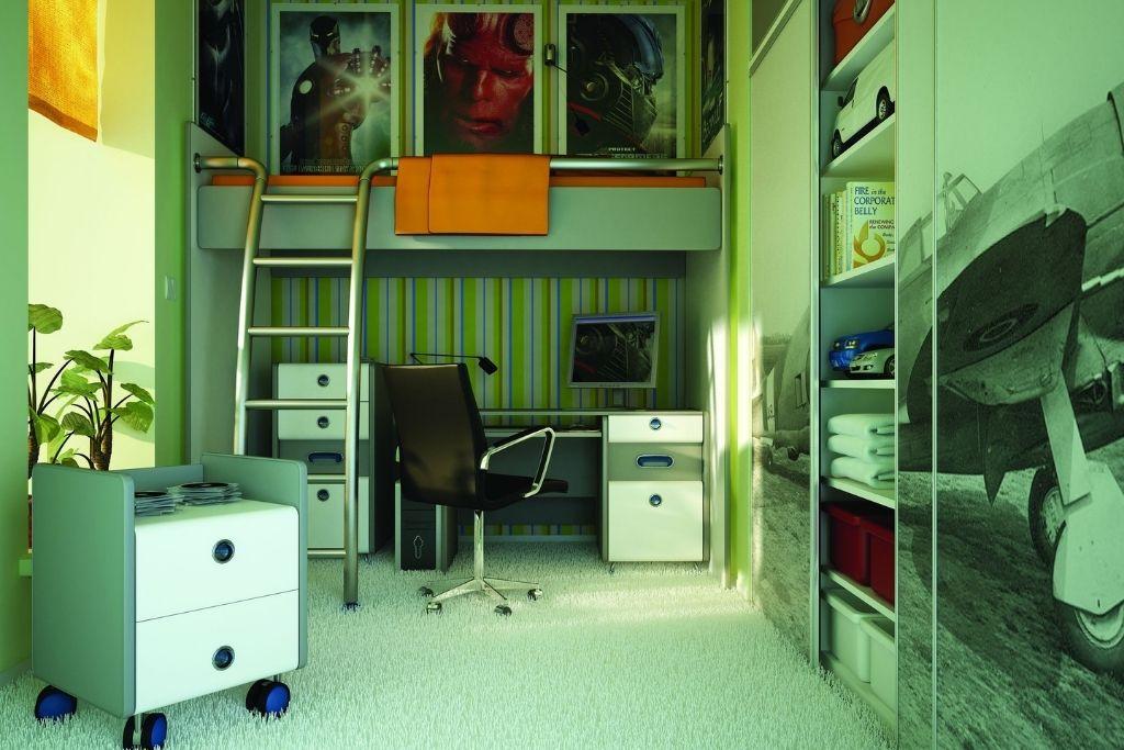 szafa wnękowa ze zdjęciem samolotu na frontach w pokoju dziecięcym